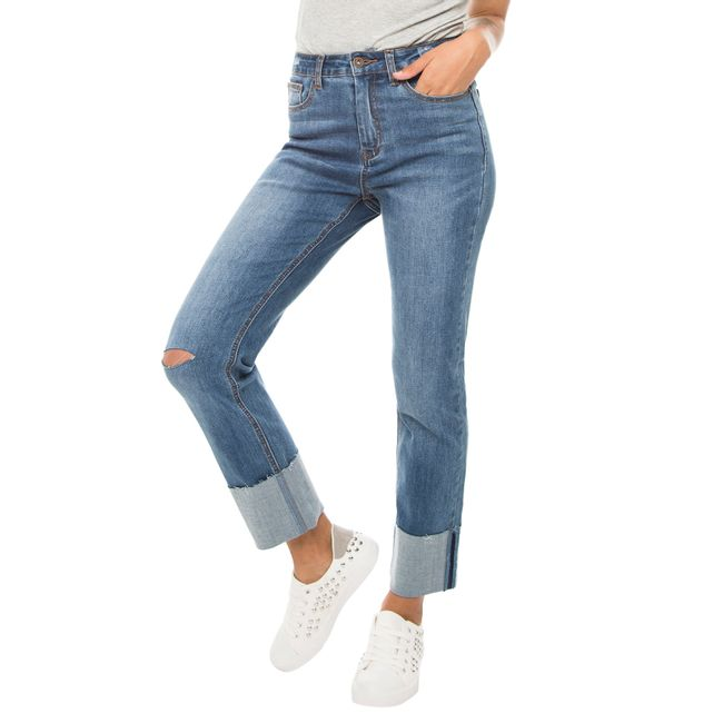 Jeans-High-Rise-Folded-Hem-Azul-Medio-