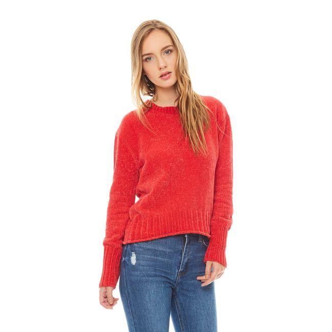Sweater-chenille-Cuello-U-Rojo-