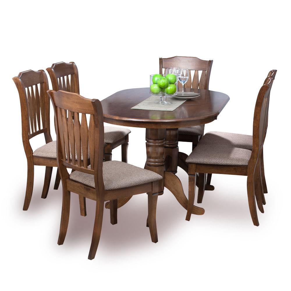 Juego de comedor 6 sillas deco casa ovalado toledo for Comedores de madera precios