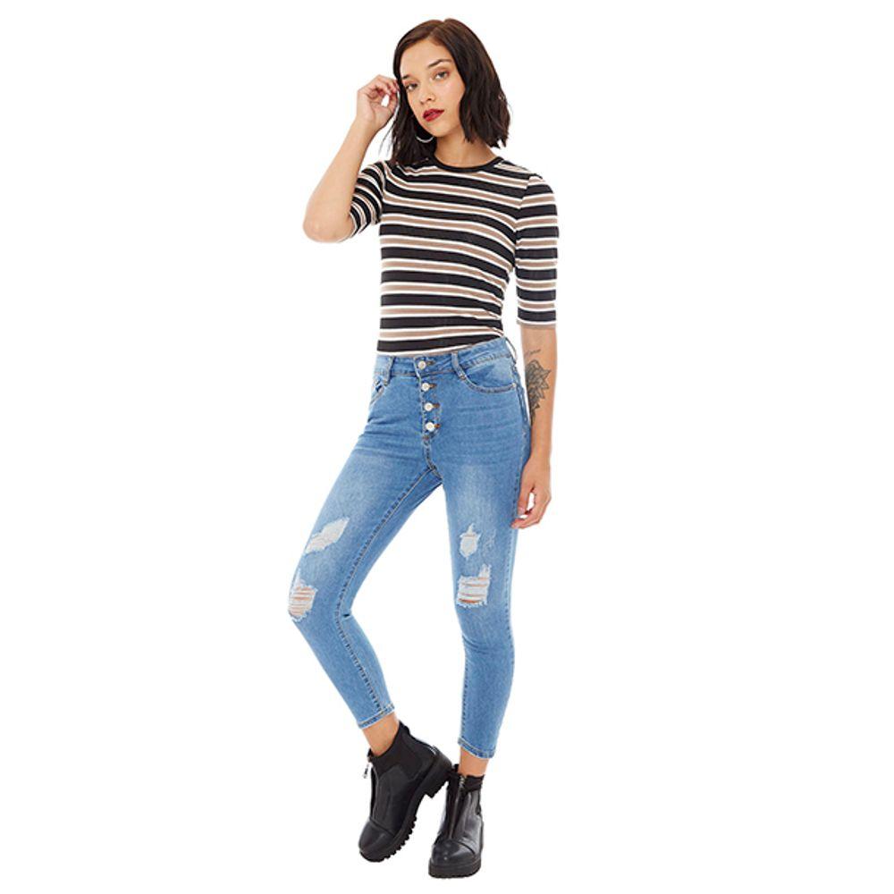 7529cbff4e3 Jeans High Rise Azul Mujer