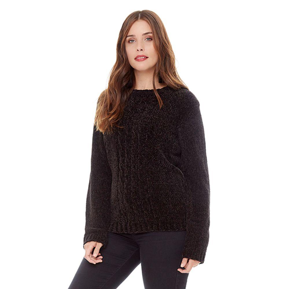 fe36b00664d Sweater Chenille Negro Mujer