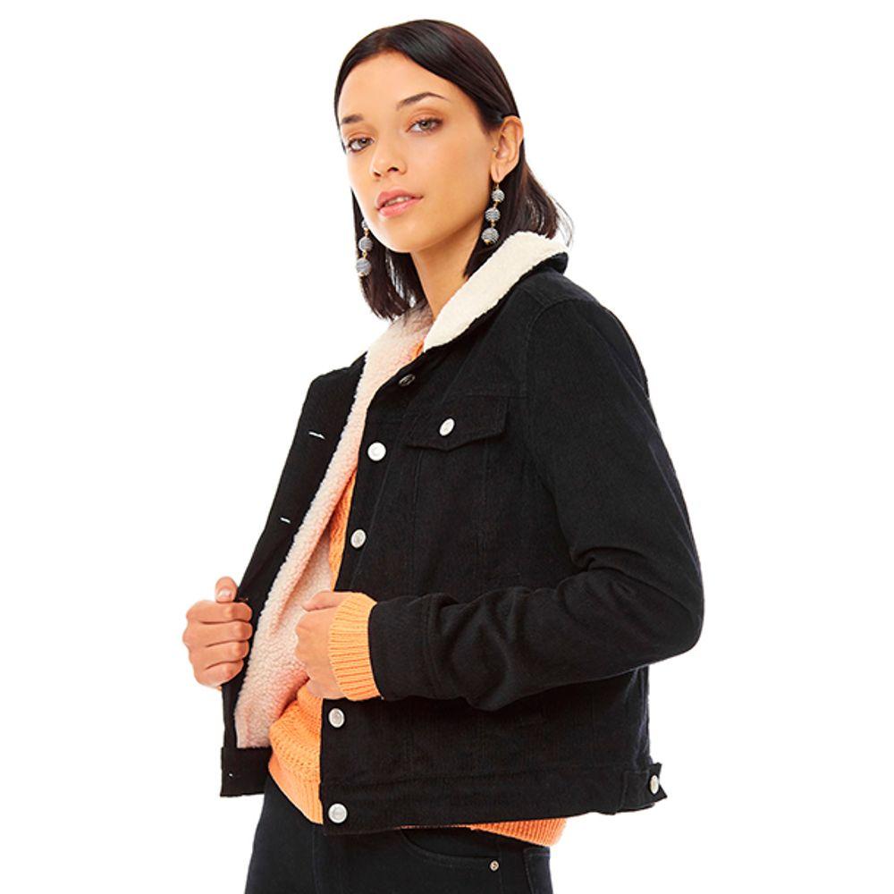 3868c10f19 Chaqueta Cotele Chiporro Negro Mujer - Corona