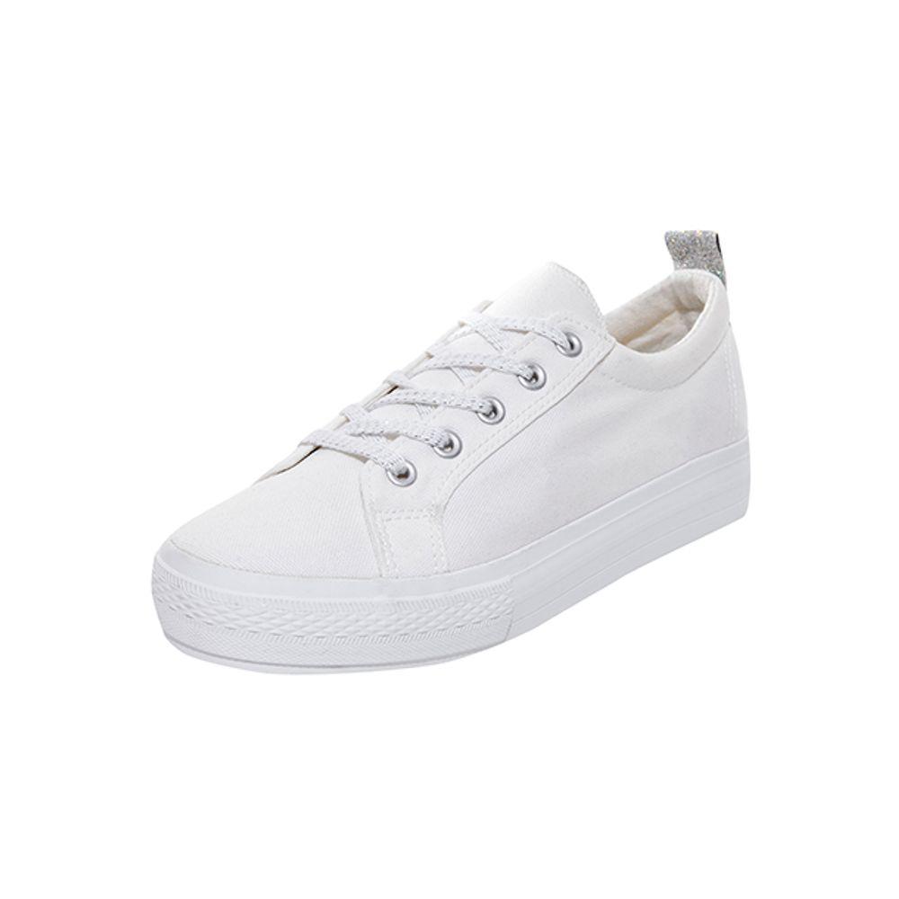 7ed4dcc0 Zapatilla Plataforma Lona Blanco Mujer - Corona