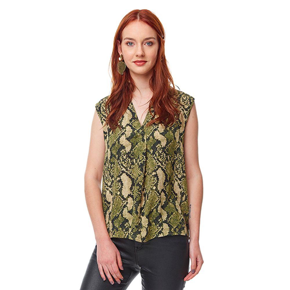 21b6fb73f26d Blusa Print Snake Verde Mujer