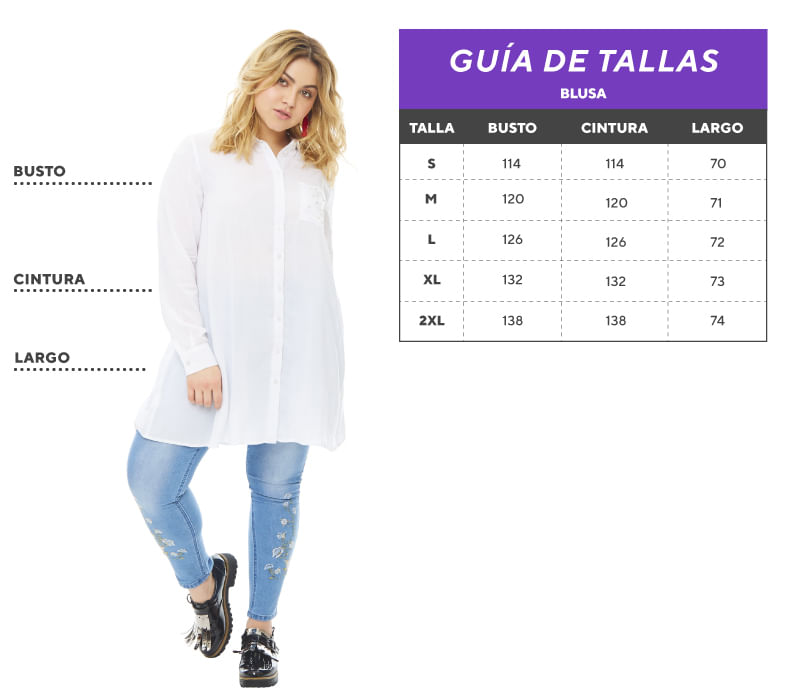 Tabla de tallas Plus size blusa