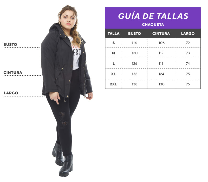 Tabla de tallas Plus size Chaqueta