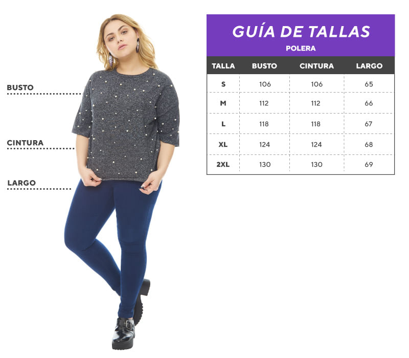 Tabla de tallas Plus size Polera